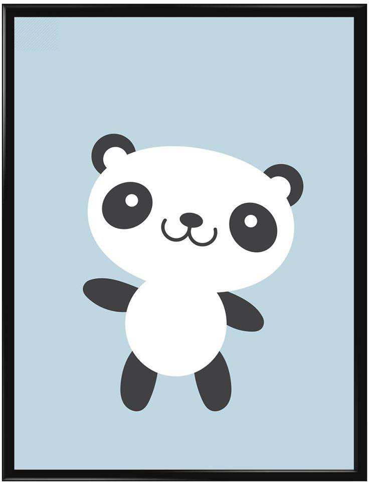 Jätte fin poster med blå bakgrund och en liten glad panda i. Bakgrunden är…