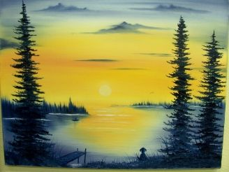 Sunset On Lake dog waiting on shore classes and paintings for sale www.paintwithvicki.com An original by Vicki