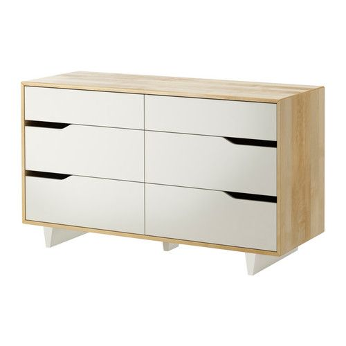 I feel like this could be easily made into a nice changing table for a kiddo. MANDAL - 6-drawer dresser, birch, white. $200