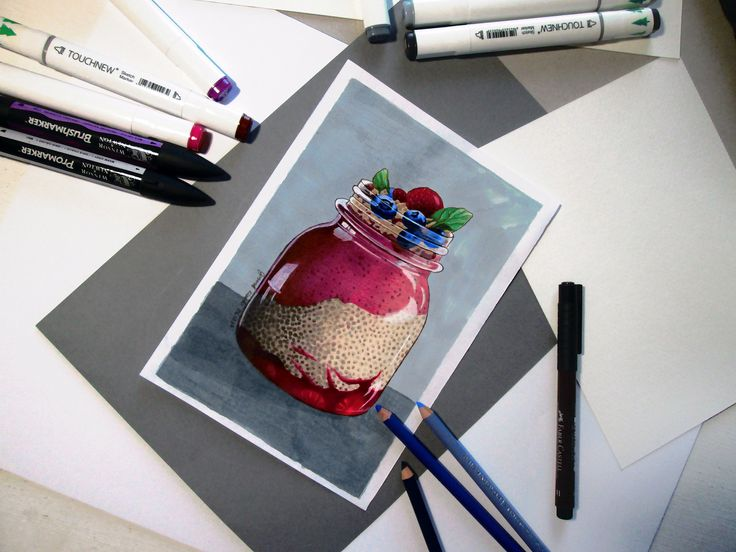 Marker and colored pencils drawing by Klaudia Cymorek