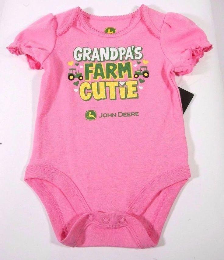 NEW John Deere Baby Girls Pink Onesie Sz 3/6 Months~ Grandpa's Farm Cutie #JohnDeere #Everyday