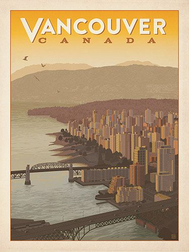 Canada: Vancouver Skyline - Our most adventurous series of classic travel poster art is called the WorldTravel Poster Collection. We were inspired by vintage travel prints from the Golden Age of Poster Design (a glorious period spanning the late-1800s to the mid-1900s.) So we set out to create a collection of brand new international prints with a bold and fresh feel.