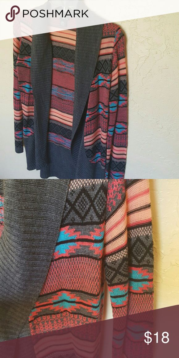 Tribal print cardigan Cute grey,pink and blue tribal print cardigan. Worn once. Open to offers! Rue21 Sweaters Cardigans