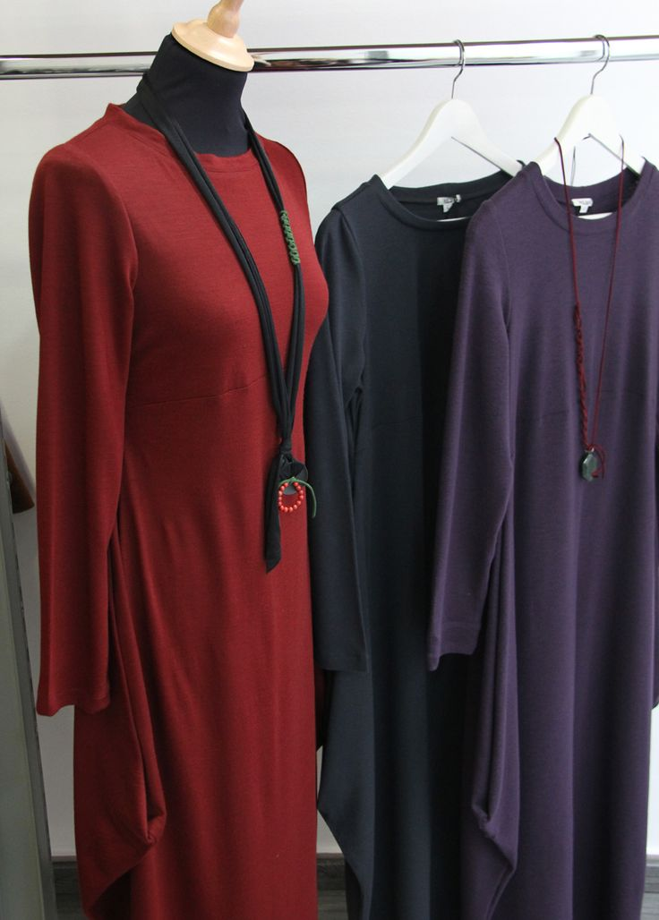 jersey long-sleeve dress in various colors.