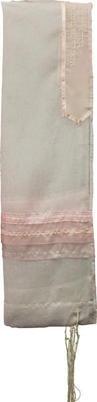 Tallit Sheer Pink/White