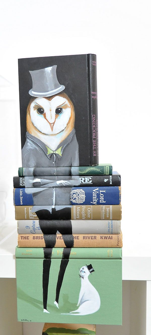 Owl + Chip-Kidd-esque book-spine integrated picture + texture nuttery. <3