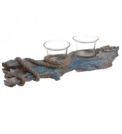 WOODEN 'TRUNK' VOTIVE HOLDER W_2 SECTIONS 32_5X8_5X8
