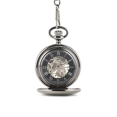 Gunmetal Mechanical Pocket Watch With Gift Box