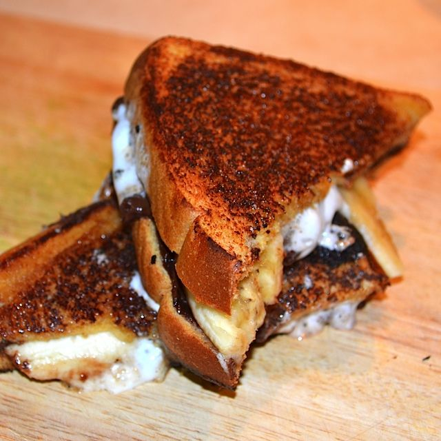 Caramelized Chocolate, Banana, And Marshmallow Sandwiches Recipe ...