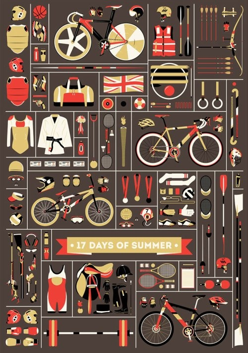 Wonderful London Summer Olympics Poster | 17 Days of Summer by Jordan Chueng