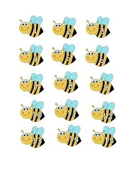 Cute little bees with numbers 1-15. Print these out and laminate them for little…