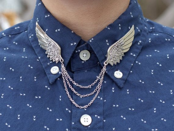 Large Silver Bird Wing Collar Clip Collar Chain