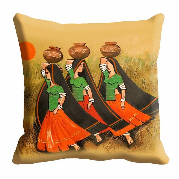 Indian Village Locals Cushion Cover  For price enquiry email @ hello@thebollywoodbazaar.com