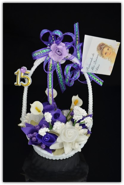 5 Bouquet of flowers' basket * purple [Fav_024] - $2.45 : Unique Glass & Crystal Quinceanera Favors | Love Made Glass, If it is made with love, we make it in glass!