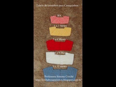 ▶ Passo a passo Tabela de Tamanhos para Casaquinhos em Crochê - YouTube