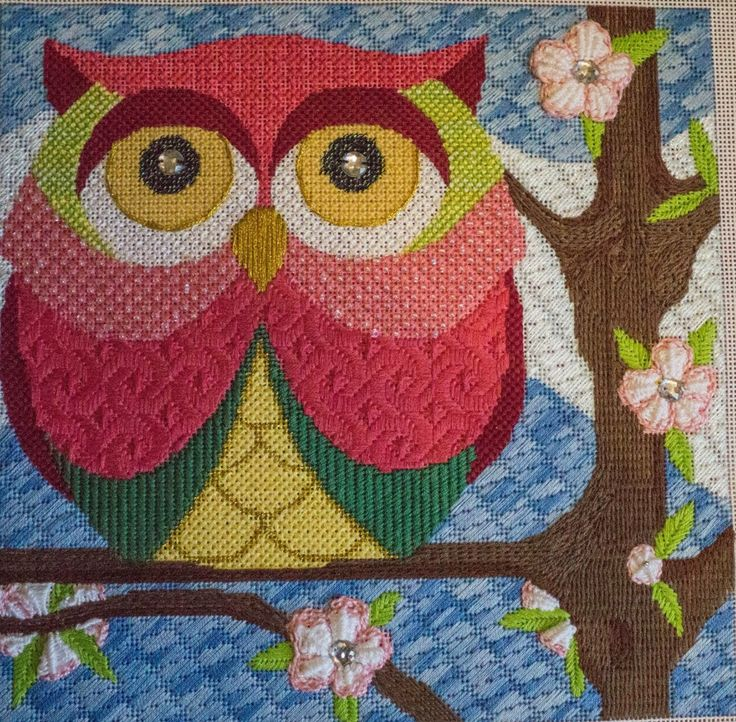 needlepoint owl, designer unknown