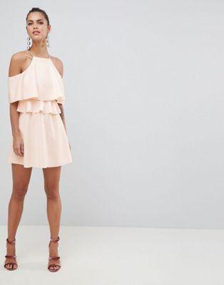 DESIGN High Neck Cold Shoulder Skater Mini Dress in 2018  d7c6a737093e0