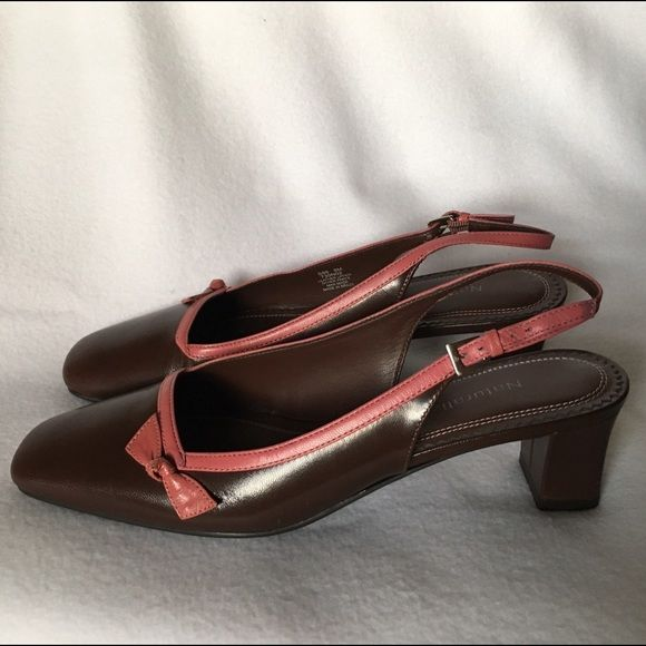 NATURALIZER Brown & Pink Strappy Leather Heels 8 Dark Brown low heeled Naturalizers with soft pink edging and bow. Buckle strap. Square toe. Genuine Leather uppers. Rubber soles. Ladies size 8 Naturalizer Shoes Heels