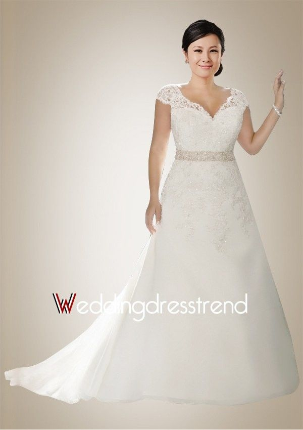 Graceful A-line Chapel Train Wedding Dress with Illusive Lace Applique