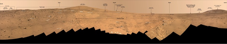 "Annotated full-circle 'Bonestell' panorama taken on the northern edge of the ""Home Plate"" plateau by the Mars Spirit Rover within Gusev Crater on Martian mission days Sol 1,477 through 1,691 (Feb 28 to Oct 5, 2008 on Earth)."