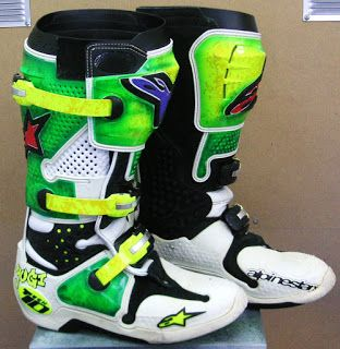 Alpinestars Motocross Painted Boots #158 ~ Hand Painted Helmets - Design your helmet today..!!