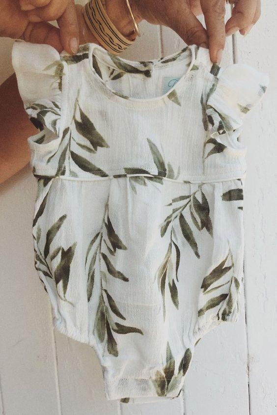 Baby Girls Romper – Olive Leaf