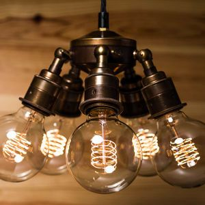 Maria Steampunk Five Lamp Holder Brass Pendant - bedroom