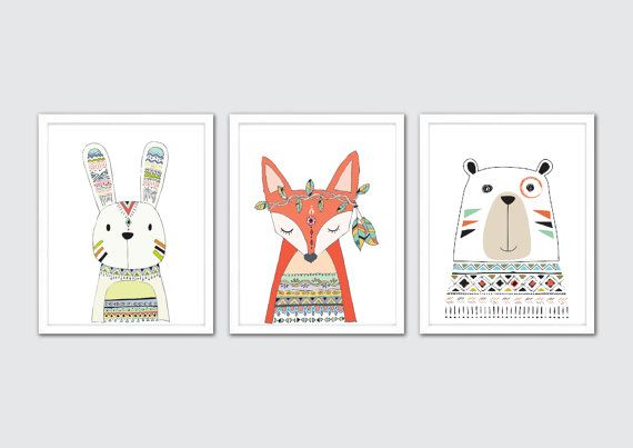 Tribal Nursery Art Tribal Animal Prints Tribal by RomeCreations