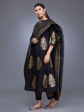 Black Chanderi Block Printed Suit - Set of 3