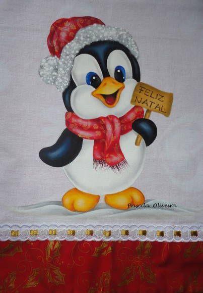 Pano de prato com pintura de pinguim de natal;  Feito em  tecido de sacaria branca, medindo 70 x 46 com barrado de tricoline...  Por se tratar de um trabalho feito a mão., os tecidos podem  mudar de acordo com a disponibilidade R$ 26,00