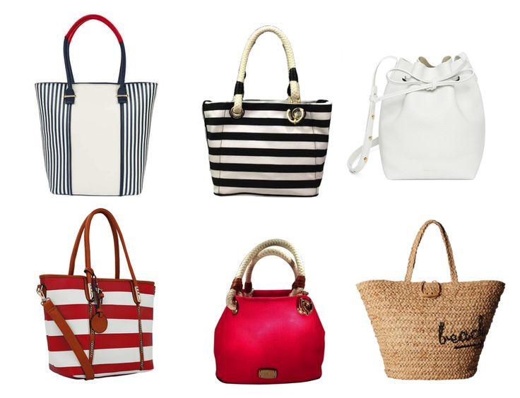 Сумки, характерные морскому стилю: - текстильные; - плетеные; - фрагментарно кожаные; - белые, красные, синие; - ручки-шнуры; - люверсы; - полоски; - якоря.