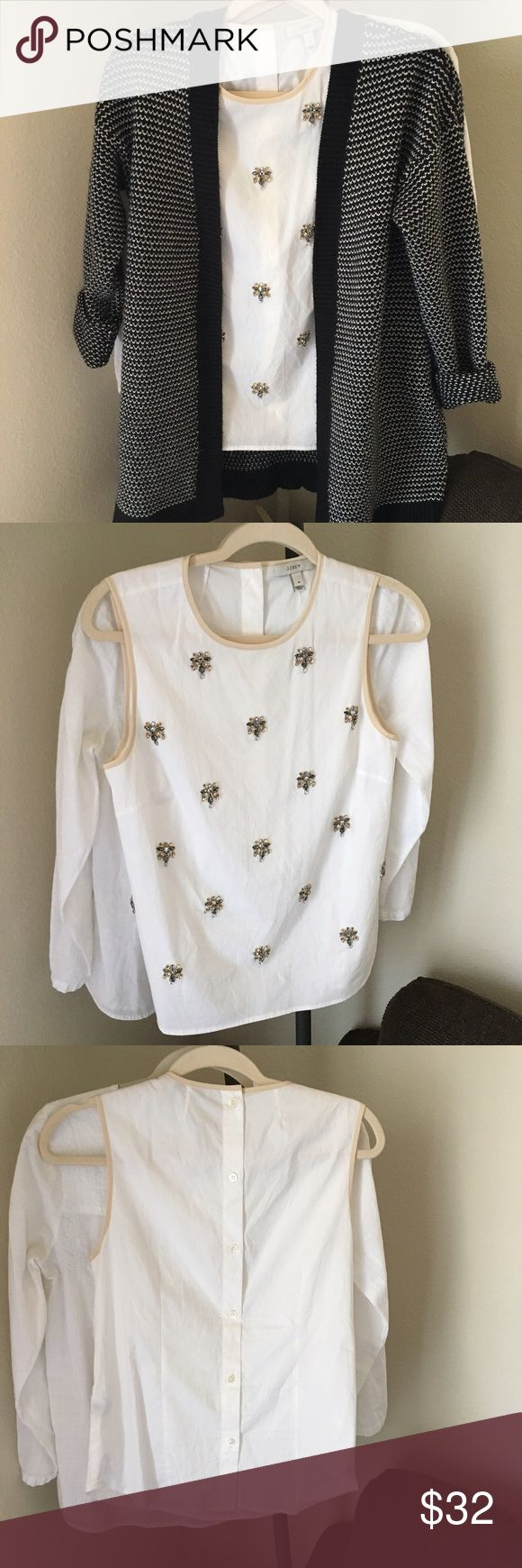 💎J. Crew Jeweled White Tank💎 100% Cotton  This gorgeous jeweled white tank with cream accents from J. Crew is an absolute wardrobe must have. This is perfect to throw on with a pair of chinos for a summer barbeque or with a blazer or cardigan at work! As always, comment with questions and bundles of 3+ are 15% off! J. Crew Tops Tank Tops