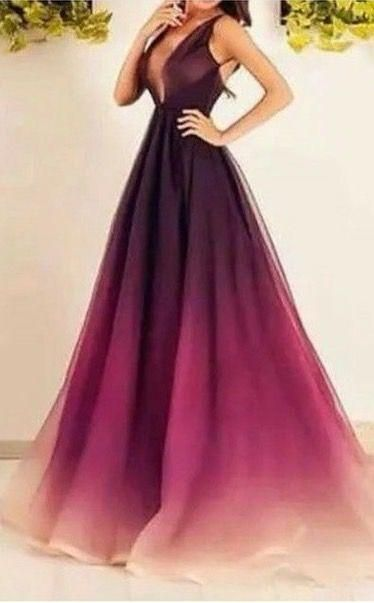 Evening Dresses Ombre Prom Dresses With Deep V Neck And Small Train Chiffon Long Prom Gowns With Sleeveless Cinderella Prom Dresses