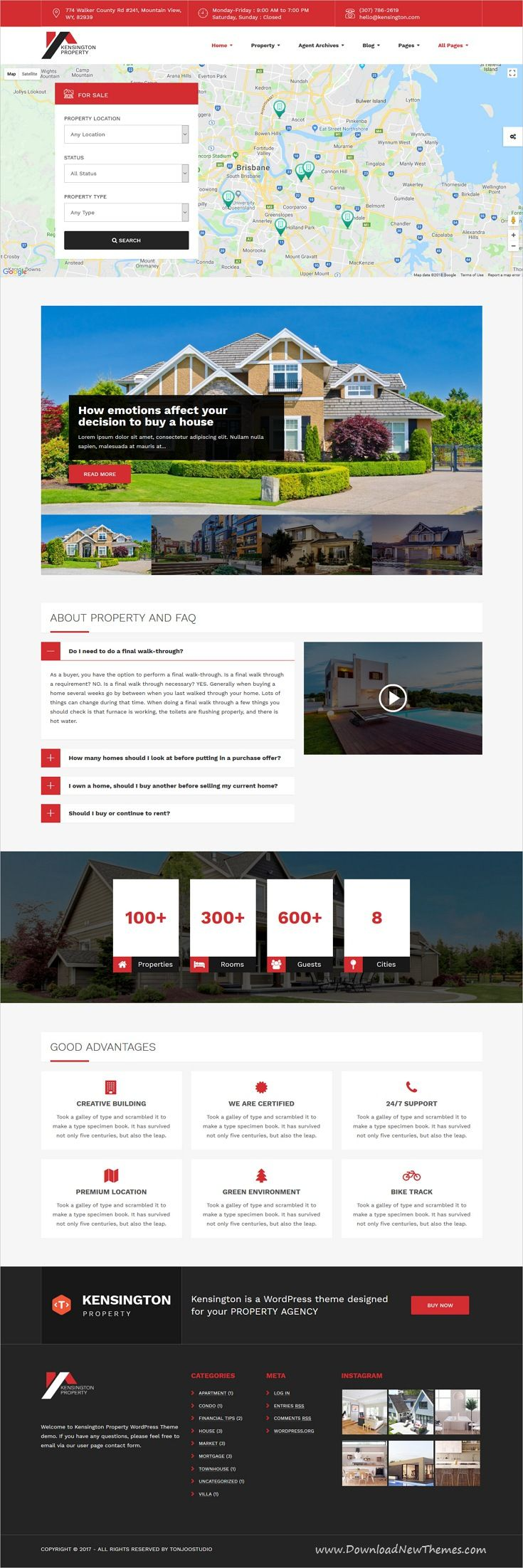Kensington is clean and modern design 6in1 responsive WordPress theme for #realestate and #property management #website to live preview & download click on image or Visit  #webdesign