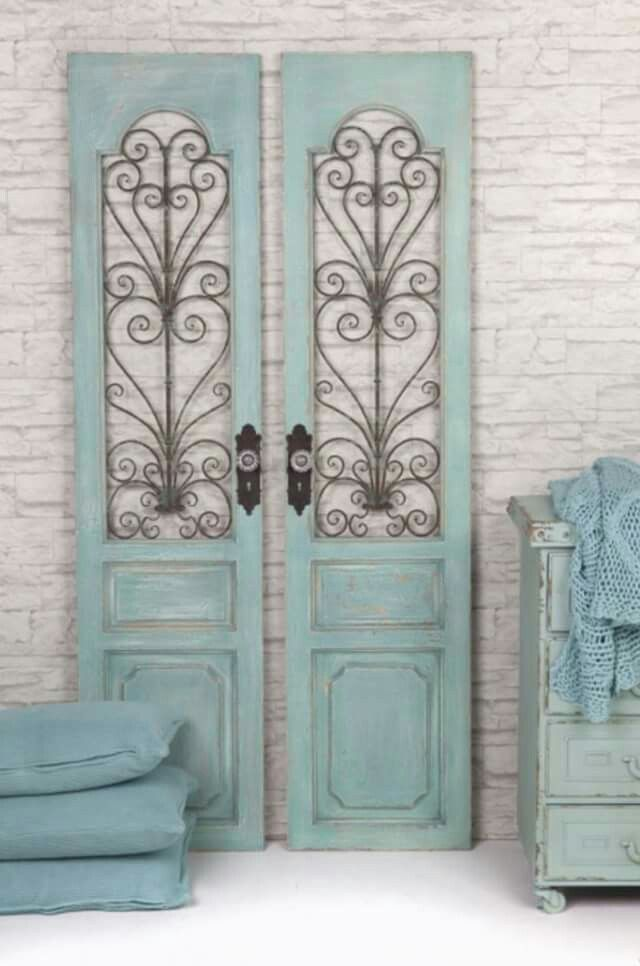 Pale aqua   Light sea green   painted door panels, home decor