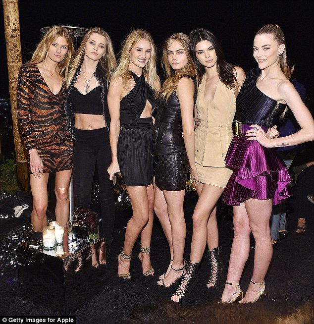 Model behaviour: Rosie was also in the company of Constance Jablonski, Abbey Lee Kershaw, Cara Delevingne and Kendall Jenner and Jaime King