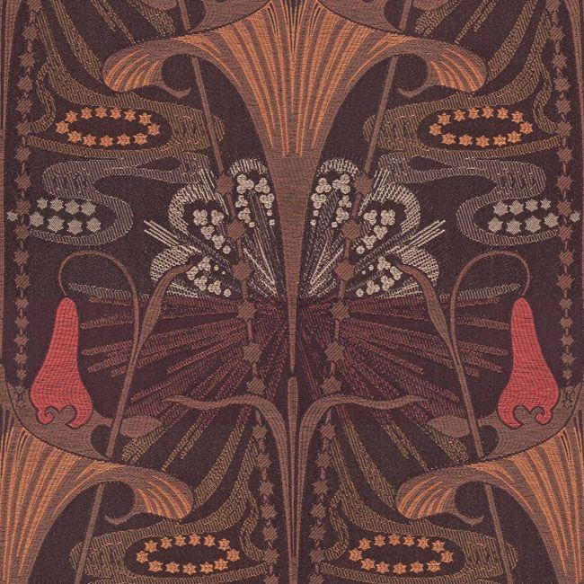 Art Deco Art Nouveau Brown Flat-Weave Curtain and Upholstery Fabric   Art Nouveau Autumn Sunrise from Loome Fabrics