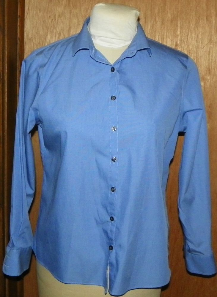 Lands End Women S Blue Blouse Shirt Size 12 P Long Sleeves No Iron