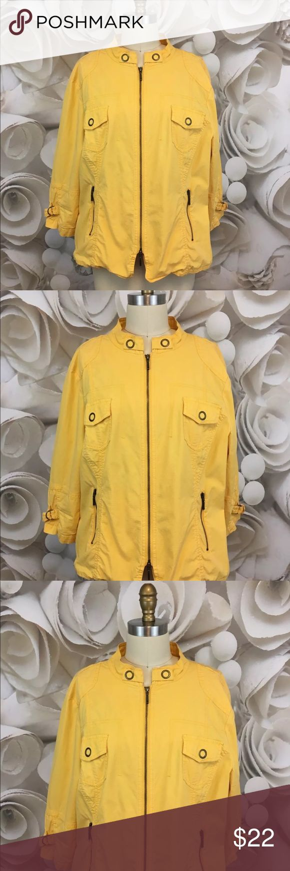 Chicos Jacket Retro Style Zip Up Yellow Sz XL 16W Chicos Womens Jacket Zip Up Retro Style Zip Up Yellow Sz 3 XL 16W EUC   Thank you for shopping Charlie Birdie's!!    Brand: Chico's  Style: Jacket  Condition: Excellent Used Condition  Fabric: 97% Cotton 3% Spandex  Size: Chico's Sz 3 / XL / 16W  Colors/Patterns: Yellow / Solid    Measurements:  Chest (Pit to pit): 46 inches around  Shoulder to hem: 26 inches long  Sleeve: 19 inches long (Rolled) Chico's Jackets & Coats Blazers