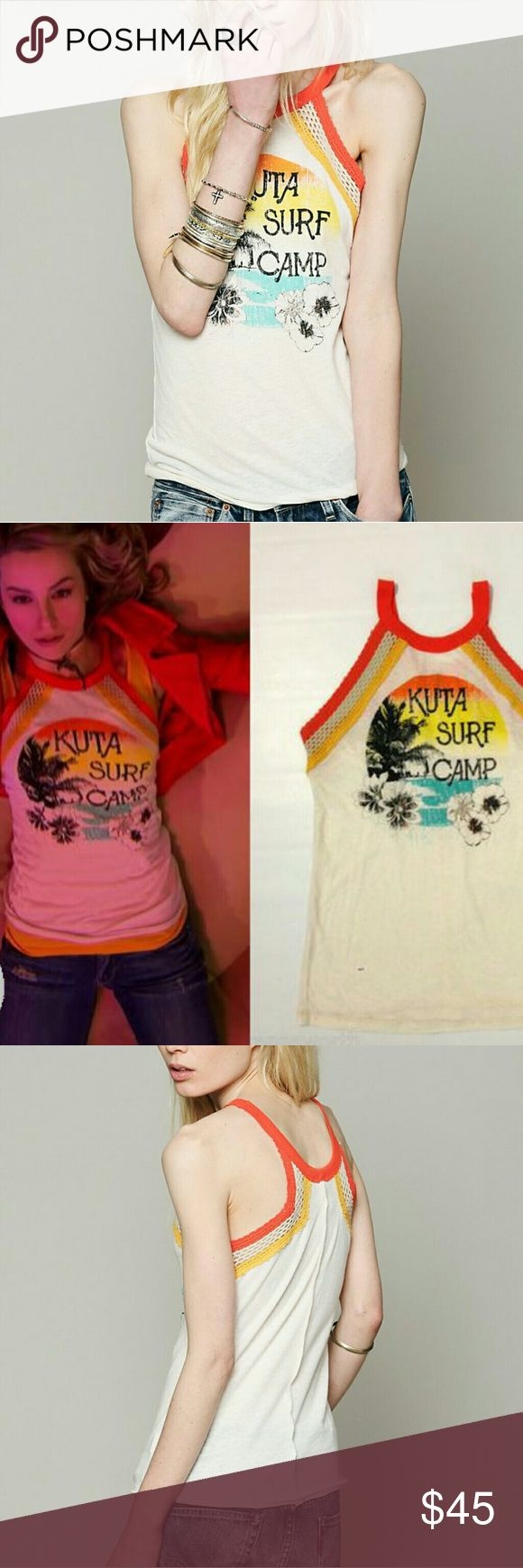 Free People Royal Rumble Tank Free people- We the Free- Royal Rumble Tank. Cool kuta surf camp tank w/ crochet top. As seen on Teddy Duncan (Bridget Mendler) on the show Goodluck Charlie. Sold out everywhere online, so, get it while you can!  *mahalo for your interest* Free People Tops Tank Tops