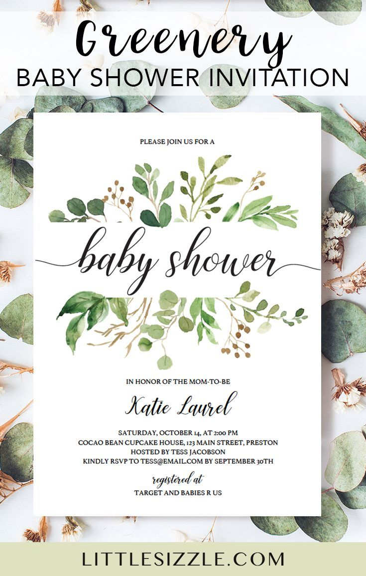 Greenery baby shower invitation template by LittleSizzle. Greenery themed baby showers are on trend at the moment. Your guests will be delighted when they receive this gorgeous botanical baby shower invitation with green leaves. The classic and elegant green invite is perfect for any gender neutral party or greenery themed baby shower. Simply download, personalize and print in just minutes. Complete the look with our greenery baby shower games and matching decor. #babyshowerthemes #greenery #DIY
