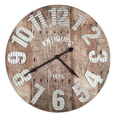 Tessa Horloge murale effet bois et tôle D91.5cm