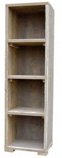 gratis doe het zelf bouwtekeningen. Smal model vakkenkast van steigerhout.
