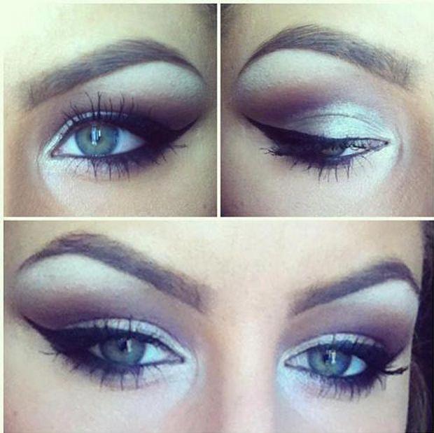 matita bianca, matita nera, eyeliner nero + ombretto bianco e violetto