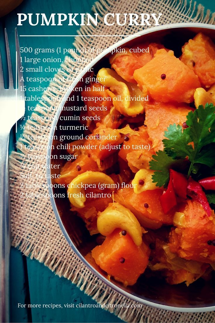 A very easy pumpkin curry with simple spices but big on flavour. The secret ingredient is the toasted chickpea flour, it gives a great nutty taste. Vegetarian, vegan, and delicious!