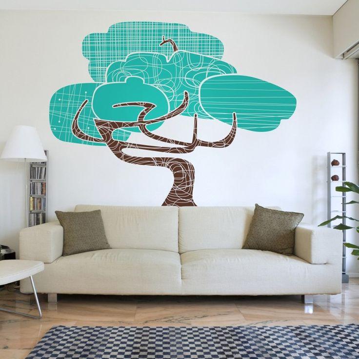 Tree vinyl wall decal mid century modern large tree wall sticker art modernism by