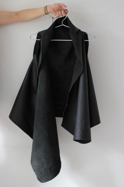 large rectangular piece of leather with two slits, the width between your shoulder blades apart...so simple and smart!