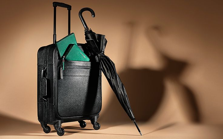 Travel essentials for men in black and green from the Burberry A/W13 accessories collection
