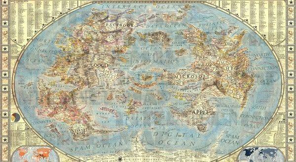 """Jetez un oeil à cette étonnante carte du web ! Vraiment étonnant et bluffant à la fois: on mesure mieux l'importance des ces mastodondes Américains ! (Pour vous en rendre compte, cliquez sur le lien """"carte du web"""" et agrandissez la par un second clic)"""