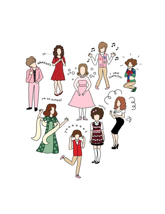 Kristen Wiig Characters Print  Hand-Illustrated by roaringsoftly